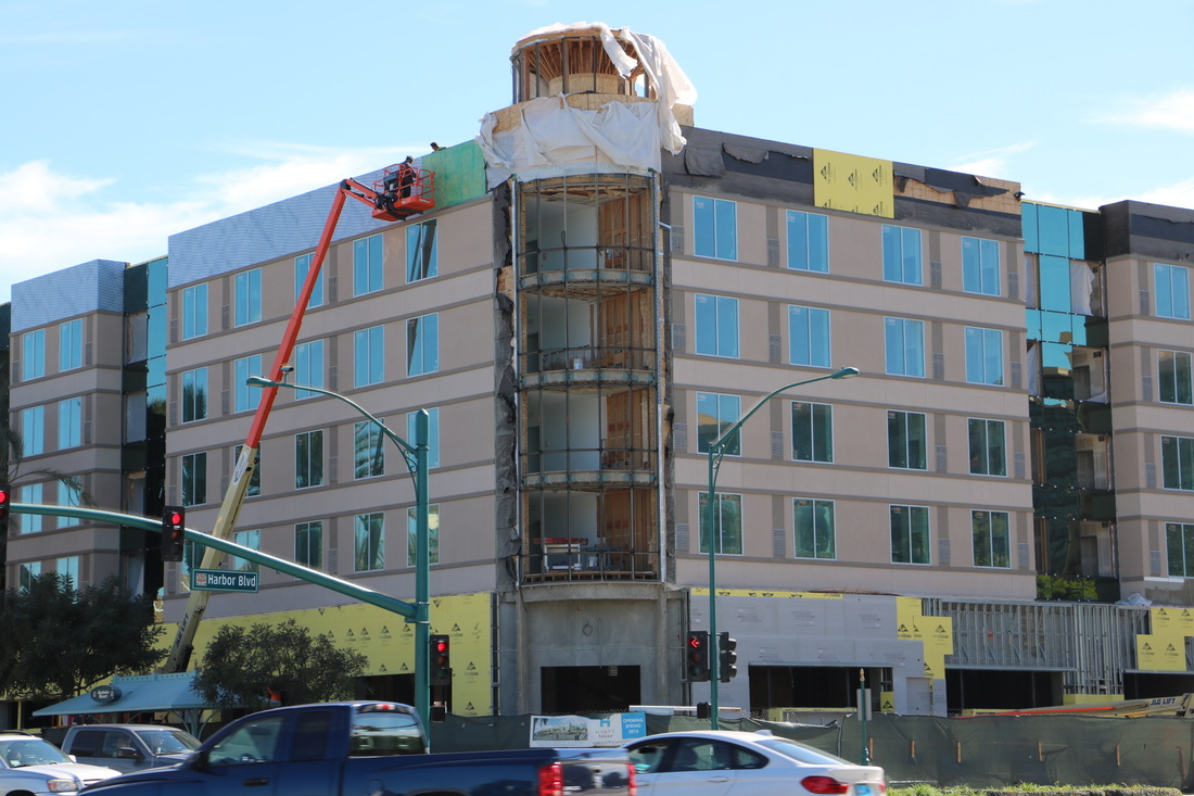 under construction Hyatt House in the Anaheim Resort district