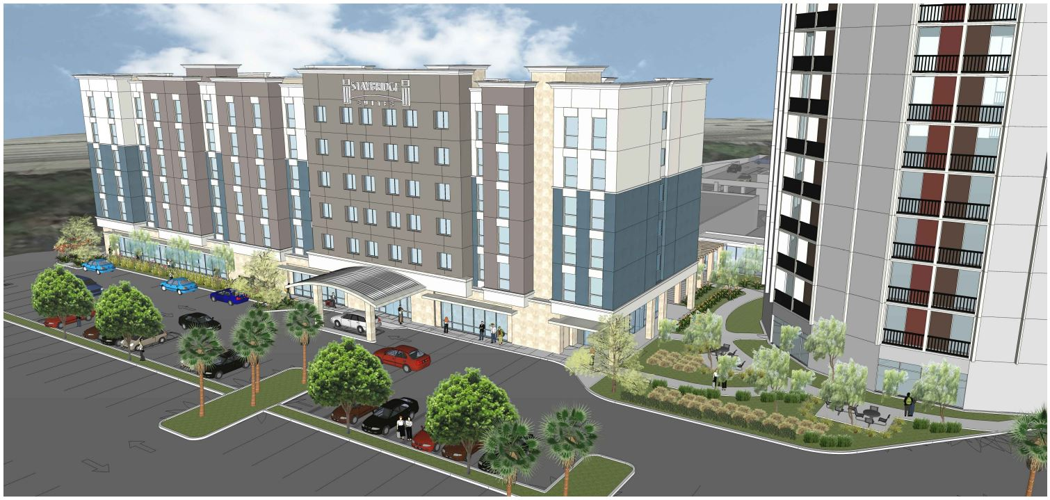 Rendering of the Staybridge Suites hotel in Long Beach near the Long Beach Airport